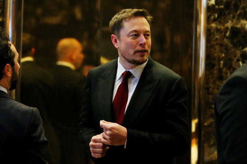 Tesla Chief Executive, Elon Musk enters the lobby of Trump Tower in Manhattan, New York
