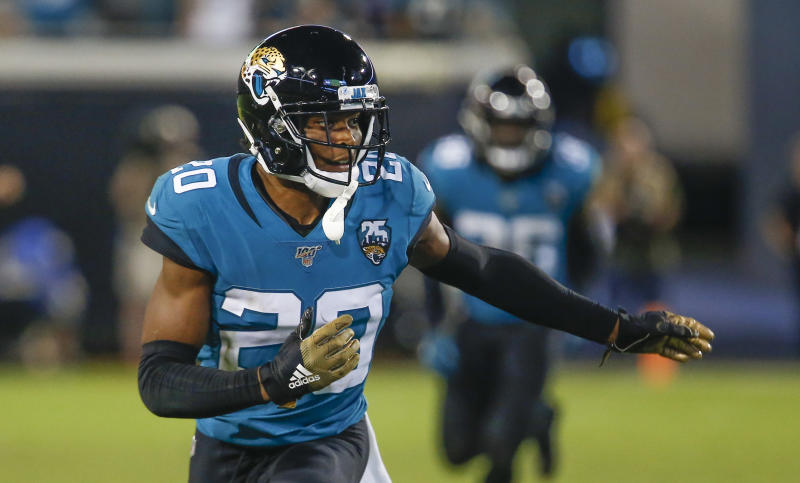 Sep 19, 2019; Jacksonville, FL, USA; Jacksonville Jaguars cornerback Jalen Ramsey (20) runs a cover route during the second half against the Tennessee Titans at TIAA Bank Field. Mandatory Credit: Reinhold Matay-USA TODAY Sports