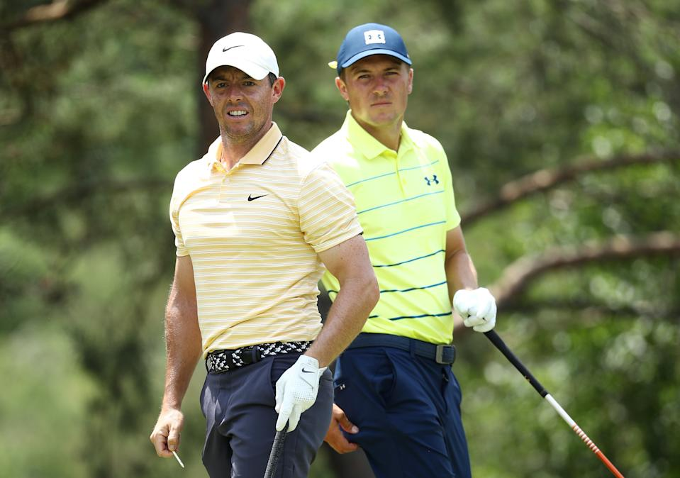 Rory McIlroy and Jordan Spieth, seen here at the Memorial in 2020, are the two names to watch this week at the PGA Championship. (Photo by Jamie Squire/Getty Images)