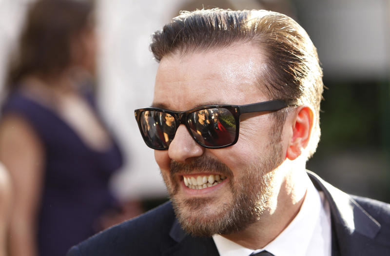 Golden Globe Awards host Ricky Gervais arrives at the 68th annual Golden Globes Awards in Beverly Hills, California January 16, 2011. REUTERS/Danny Moloshok (UNITED STATES - Tags: ENTERTAINMENT) (GOLDENGLOBES-ARRIVALS)