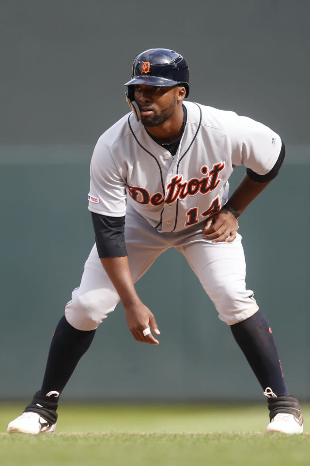FILE - In this May 11, 2019, file photo, Detroit Tigers' Christian Stewart takes a lead at first base during a baseball game against the Minnesota Twins in Minneapolis. Christin Stewart homered in the top of the 10th inning to lift Detroit to a win in its season opener last year. A few days later, Spencer Turnbull took the mound for the Tigers as the starting pitcher for their first home game. Those are moments each player can look back on with pride, but both enter 2020 with a lot still to prove.(AP Photo/Jim Mone, File)