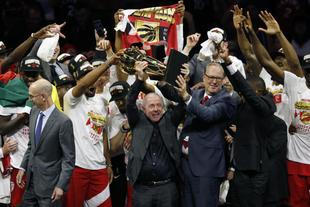 Larry Tanenbaum holds the Larry O'Brien Championship Trophy after the Toronto Raptors defeat the Golden State Warriors to win Game Six of the 2019 NBA Finals at ORACLE Arena on June 13, 2019 in Oakland, California. (Photo by Lachlan Cunningham/Getty Images)