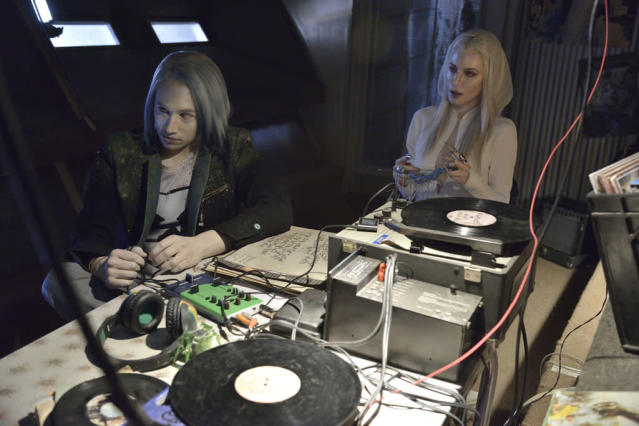 "Jesse Rath as Alak Tarr and Jaime Murray as Stahma Tarr in the ""Defiance"" episode, ""If I Ever Leave This World Alive."""