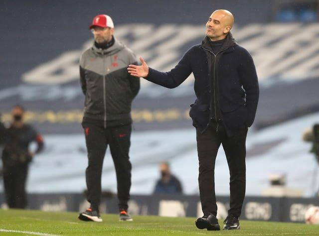 Liverpool manager Jurgen Klopp has the best record of his counterparts against Manchester City boss Pep Guardiola