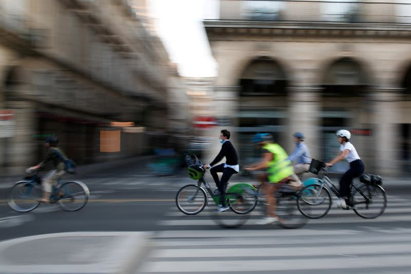 Chain reaction: bikes and pedestrians do battle in COVID-era Paris