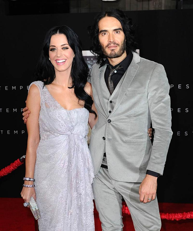 """After a whirlwind courtship that began with his flirtations at the 2009 MTV Video Music Awards, Katy Perry and Russell Brand vowed to stay together forever in an elaborate, traditional Indian wedding on October 24. It was in the exact spot in India where the """"Get Him to the Greek"""" actor proposed to the """"California Gurls"""" crooner in December 2009. Katy was even spotted wearing a traditional Indian bridal nose ring a few days beforehand! Frazer Harrison/<a href=""""http://www.gettyimages.com/"""" target=""""new"""">GettyImages.com</a> - December 6, 2010"""