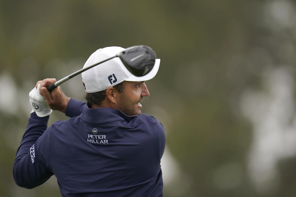 Edoardo Molinari, of Italy, plays his shot from the second tee during the first round of the U.S. Open Golf Championship, Thursday, June 17, 2021, at Torrey Pines Golf Course in San Diego. (AP Photo/Gregory Bull)