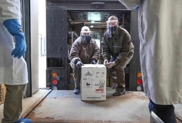 Nova Scotia's first allotment of COVID-19 vaccine was unloaded in Halifax on Dec. 15. It contained 1,950 doses. (Nova Scotia - image credit)