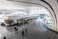 Terminal Building, Daxing New International Airport, Beijing, China. It is a cross-regional and super-large international aviation integrated transportation hub.