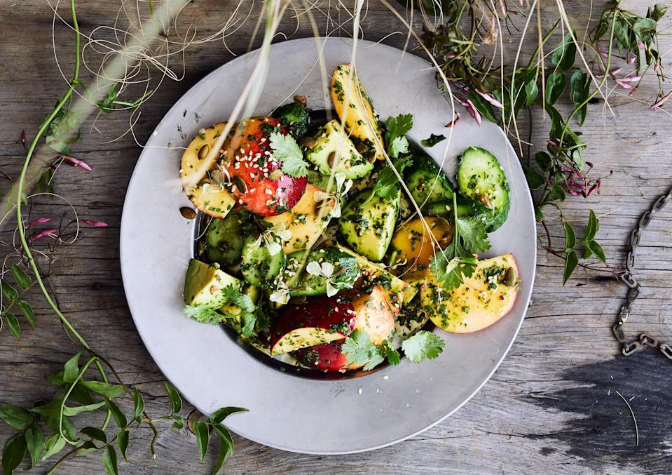 """<a href=""""https://www.bonappetit.com/recipe/savory-peach-and-cucumber-salad?mbid=synd_yahoo_rss"""" rel=""""nofollow noopener"""" target=""""_blank"""" data-ylk=""""slk:See recipe."""" class=""""link rapid-noclick-resp"""">See recipe.</a>"""