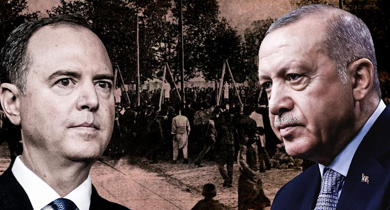 Rep. Adam Schiff and Turkish President Recep Tayyip Erdogan over a 1917 photo depicting a scene from the Armenian genocide. (Yahoo News photo illustration; photos: Culture Club/Getty Images/AP)