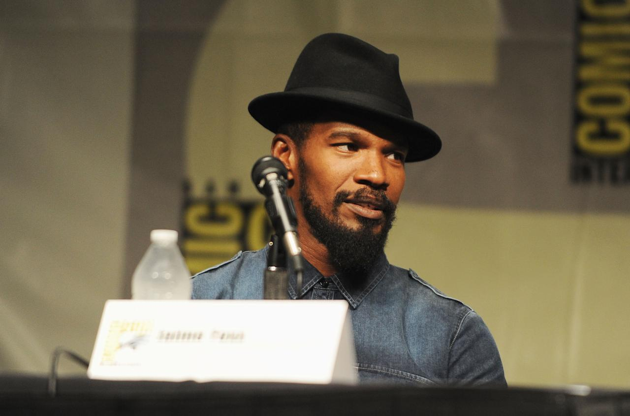 "SAN DIEGO, CA - JULY 14:  Actor Jamie Foxx speaks at the ""Django Unchained"" panel during Comic-Con International 2012 at San Diego Convention Center on July 14, 2012 in San Diego, California.  (Photo by Albert L. Ortega/Getty Images)"