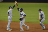 The Tampa Bay Rays celebrates their win against the Los Angeles Dodgers in Game 2 of the baseball World Series Wednesday, Oct. 21, 2020, in Arlington, Texas. Ray beat the Dodgers 6-4.(AP Photo/Eric Gay)