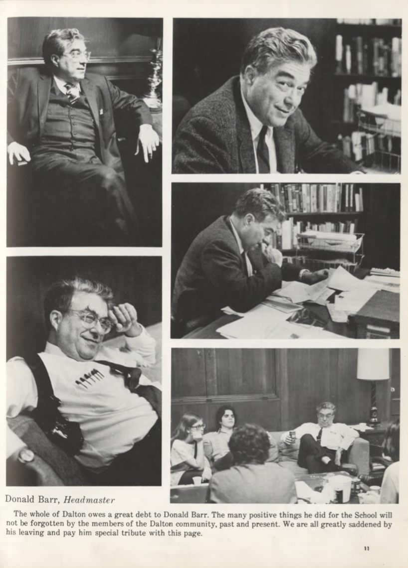 The Dalton School's Headmaster Donald Barr is pictured here in the school's 1974 yearbook. He hired Jeffrey Epstein to teach at the school without a college degree and is current U.S. Attorney General Bill Barr's father. Bill Barr has decided not to recuse himself from Epstein's case. (Yahoo Finance)