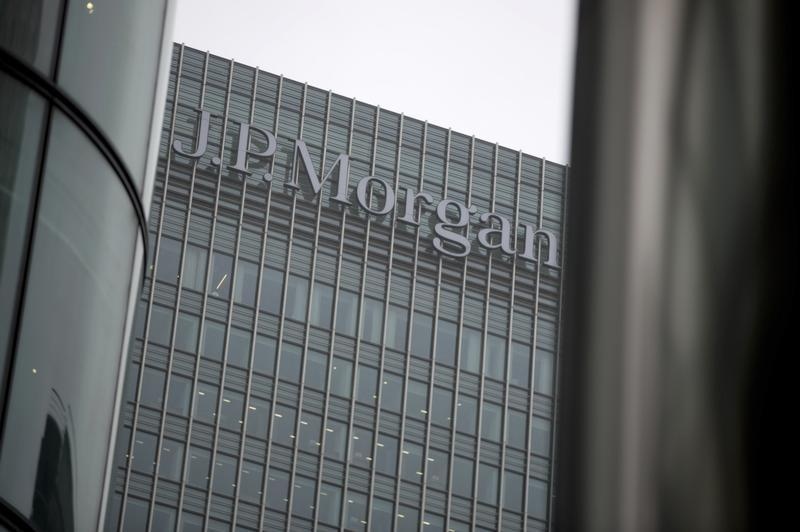 A sign is seen on the Canary Wharf offices of JP Morgan in London