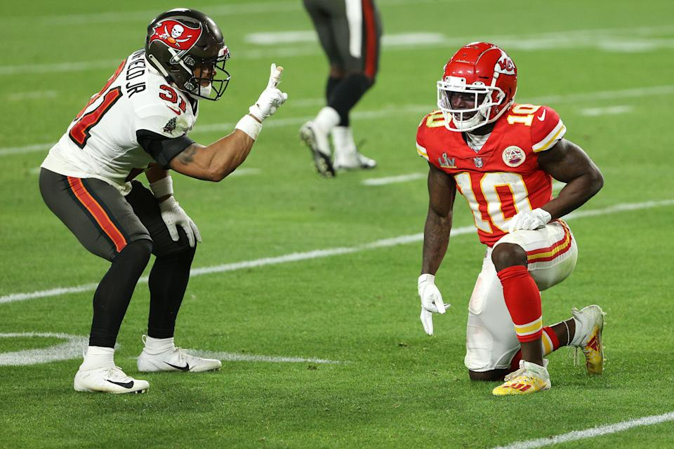 Antoine Winfield Jr. taunts Tyreek Hill during the fourth quarter in Super Bowl LV. (Patrick Smith/Getty Images)
