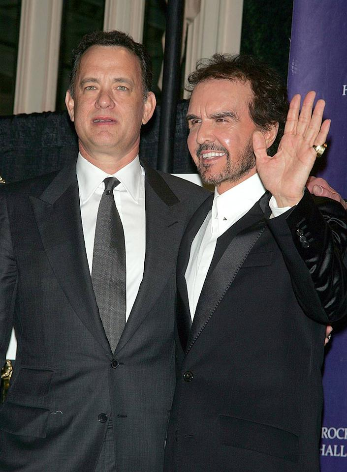 "Tom Hanks and inductee Dave Clark work their magic in the press room. Jim Spellman/<a href=""http://www.wireimage.com"" target=""new"">WireImage.com</a> - March 10, 2008"