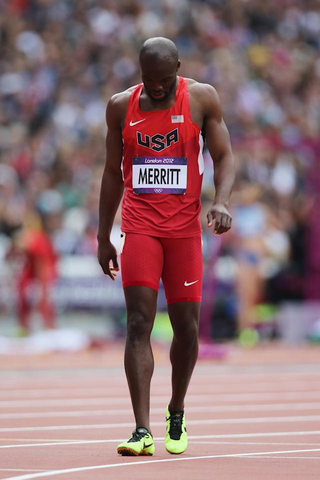 Lashawn Merritt of the United States pulls out with an hamstring injury in the Men's 400m Round 1 Heats on Day 8 of the London 2012 Olympic Games at Olympic Stadium on August 4, 2012 in London, England. (Photo by Streeter Lecka/Getty Images)