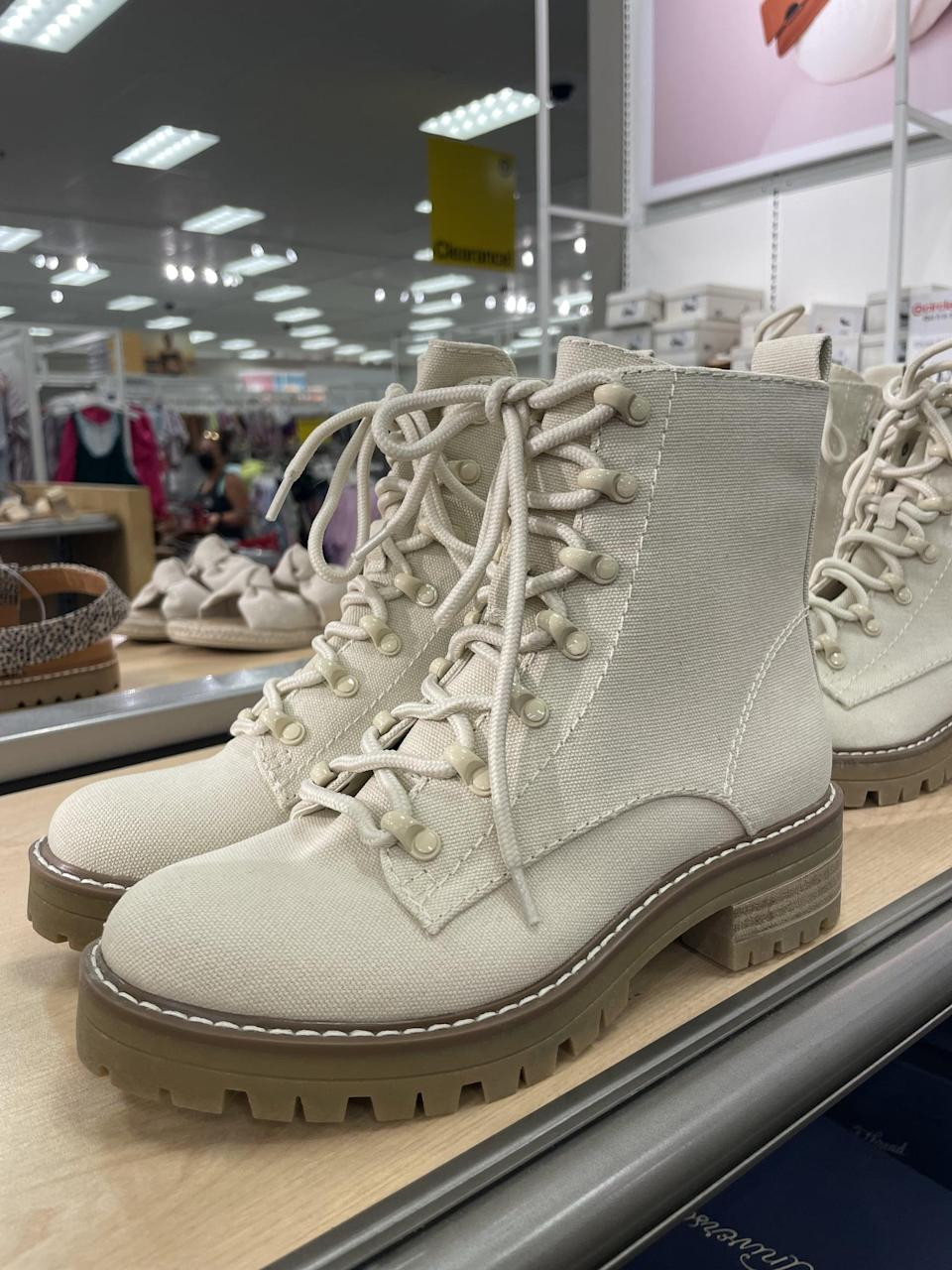 <p>OK, these <span>Universal Thread Parker Combat Boots</span> ($40) looks so expensive, so I'm amazed by the affordable price tag. Just imagine how cute these will look with a neutral sweater or autumnal dress.</p>