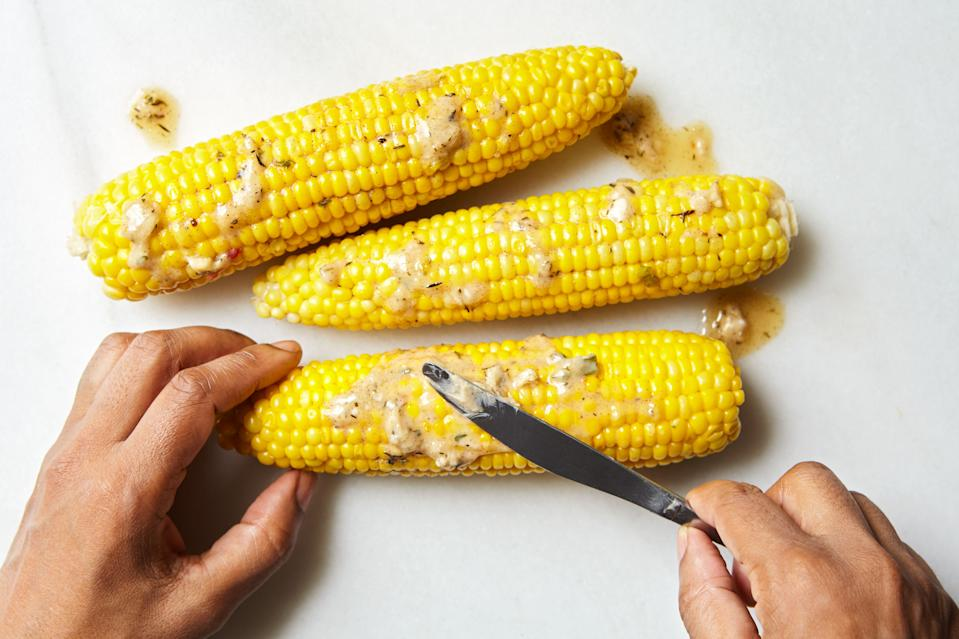 """<h1 class=""""title"""">Jerked Butter Corn - HERO</h1><div class=""""caption"""">Or...just use that <a href=""""https://www.epicurious.com/recipes-menus/the-genius-of-jerk-article?mbid=synd_yahoo_rss"""" rel=""""nofollow noopener"""" target=""""_blank"""" data-ylk=""""slk:jerk to rub a few cobs of corn"""" class=""""link rapid-noclick-resp"""">jerk to rub a few cobs of corn</a>!</div><cite class=""""credit"""">Photo by Joseph De Leo, Food Styling by Micah Marie Morton</cite>"""