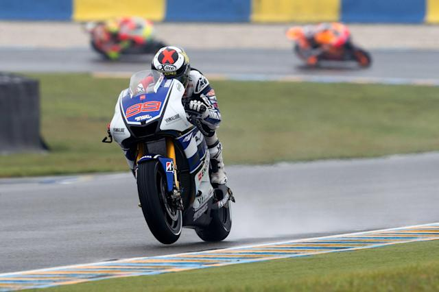 LE MANS, FRANCE - MAY 20: Jorge Lorenzo of Spain and Yamaha Factory Team leads the field during the French MotoGP race on May 20, 2012 in Le Mans, France. (Photo by Mirco Lazzari gp/Getty Images)