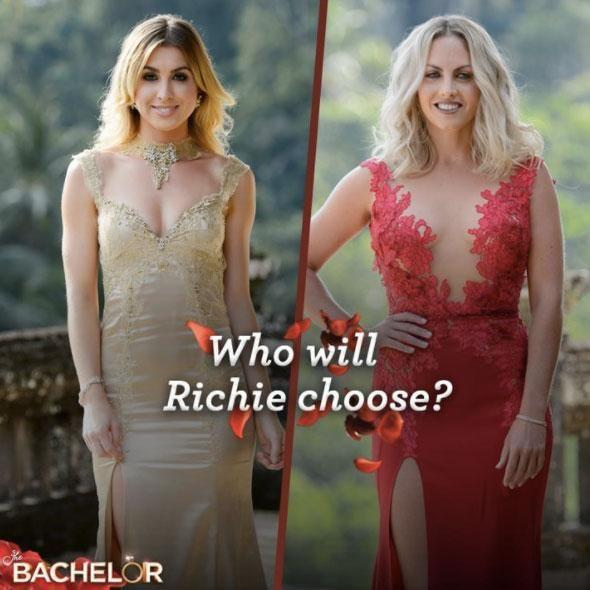 During last year's Bachelor finale, winner Alex Nation wore a gold dress, while runner-up Nikki stunned in red. Source: Channel Ten