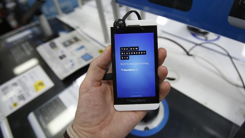Blackberry Z10 smartphone is held up in Pasadena
