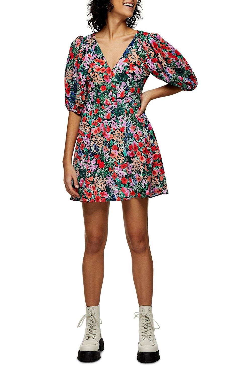 <p>This figure-sculpting <span>Topshop Puff Sleeve Floral Minidress</span> ($74) is ready for a fashionable night at home.</p>