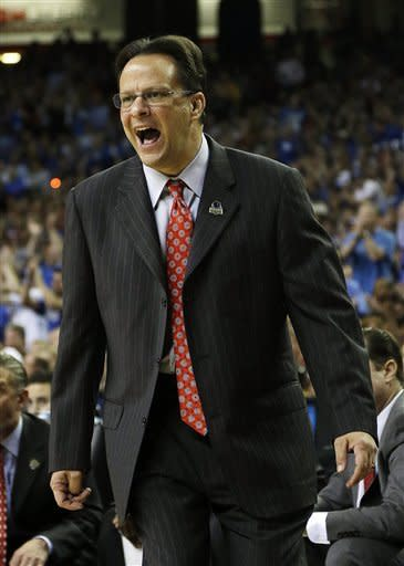 Indiana head coach Tom Crean reacts to play against Kentucky during the first half of an NCAA tournament South Regional semifinal college basketball game Friday, March 23, 2012, in Atlanta. (AP Photo/David J. Phillip)