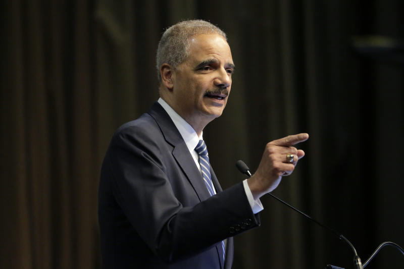 """FILE - In this April 3, 2019 file photo, former U.S. Attorney General Eric Holder, Jr. speaks during the National Action Network Convention in New York. A new federal lawsuit being filed Thursday, May 30 by three African American residents of Mississippi seeks to block what it calls the state's racist method of electing the governor and other statewide officials. The lawsuit takes aim at Mississippi's unique requirement that candidates for statewide office must win both a majority of the popular vote and at least 62 of the 122 state House of Representatives districts. Holder said a judge could order Mississippi to do what most states already do - """"count all the votes and the person who gets the greatest number of votes wins."""" (AP Photo/Seth Wenig, File)"""