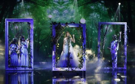 "Contestant Grout of the U.S. performs during the Season 3 finale of ""Arabs Got Talent"" in Zouk Mosbeh area, north of Beirut"