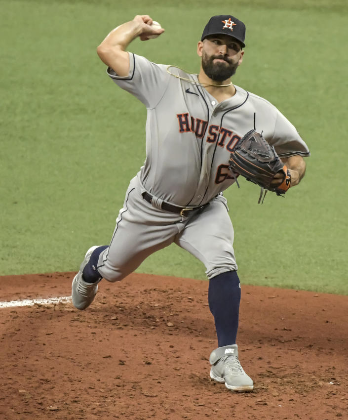 Houston Astros starter Jose Urquidy pitches against the Tampa Bay Rays during the first inning of a baseball game Saturday, May 1, 2021, in St. Petersburg, Fla. (AP Photo/Steve Nesius)