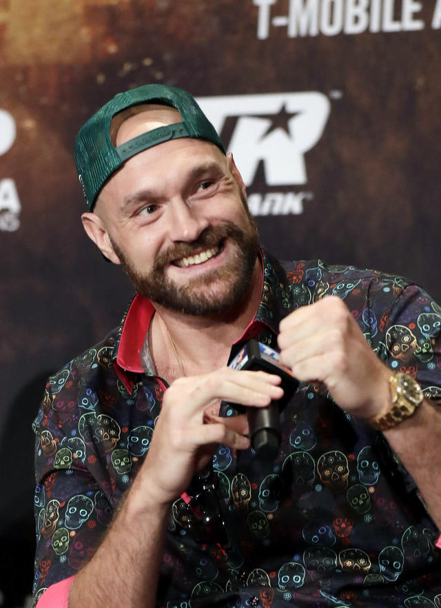 Tyson Fury speaks during a news conference Wednesday, Sept. 11, 2019, in Las Vegas. Fury will face Otto Wallin in a heavyweight boxing match Saturday. (AP Photo/Isaac Brekken)