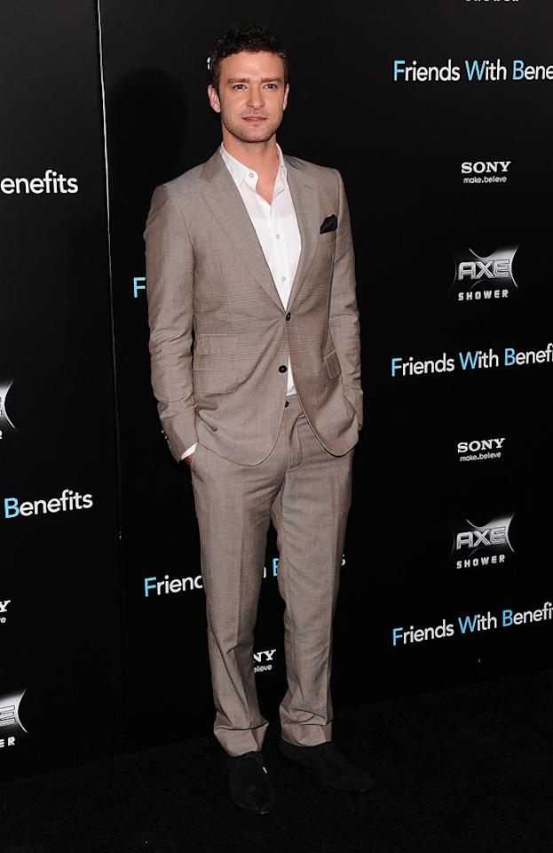 """<a href=""""http://movies.yahoo.com/movie/contributor/1802867309"""">Justin Timberlake</a> at the New York City premiere of <a href=""""http://movies.yahoo.com/movie/1810167524/info"""">Friends With Benefits</a> on July 18, 2011."""