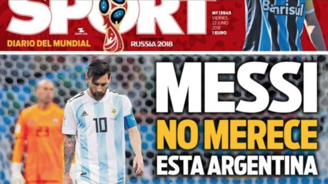 National newspaper Clavin declares 'Messi doesn't deserve this Argentina' after the shock defeat. (Twitter)
