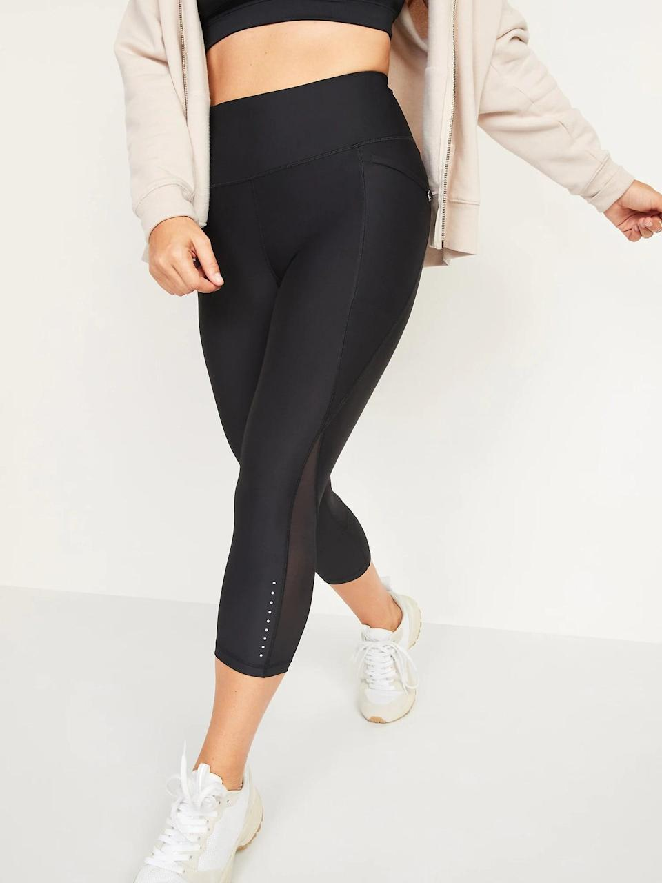 <p>These <span>Old Navy High-Waisted PowerSoft Run Crop Leggings in Black Jack</span> ($40) are a quality basic that look - and feel - like they cost way more than they actually do.</p>