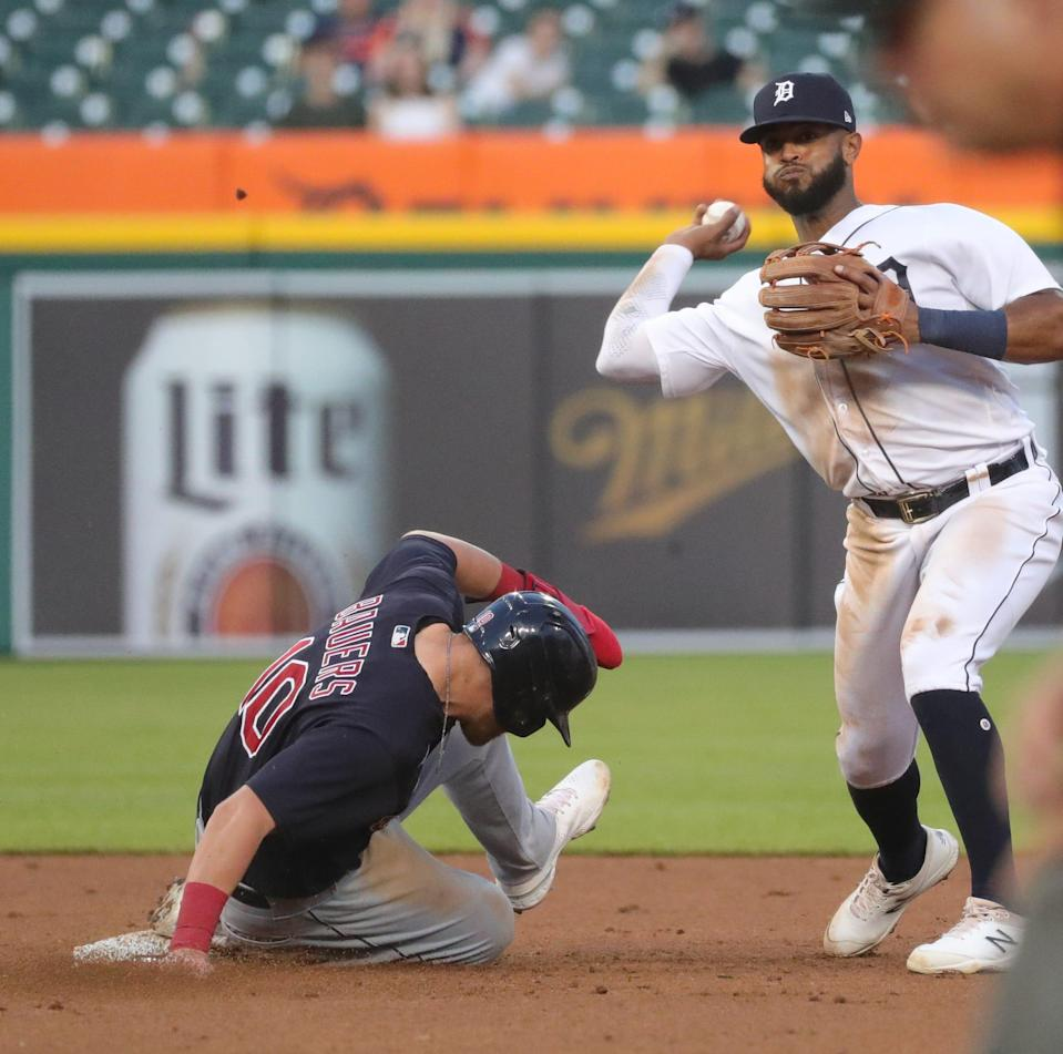 Tigers second baseman Willi Castro forces out Cleveland left fielder Jake Bauers during the fifth inning on Monday, May 24, 2021, at Comerica Park.