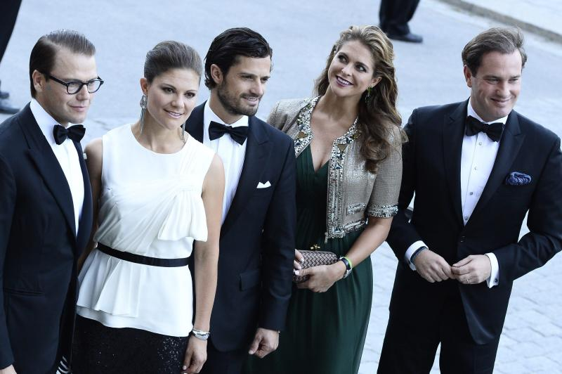 From left, Sweden's Prince Daniel, Crown Princess Victoria, Prince Carl Philip, Princess Madeleine and Christopher O'Neill arrive for the Swedish Government's dinner in connection with The King's 40th jubilee held at Nordiska Museet in Stockholm, Sweden, Saturday, Sept. 14, 2013. (AP Photo/ Claudio Bresciani, Scanpix) SWEDEN OUT