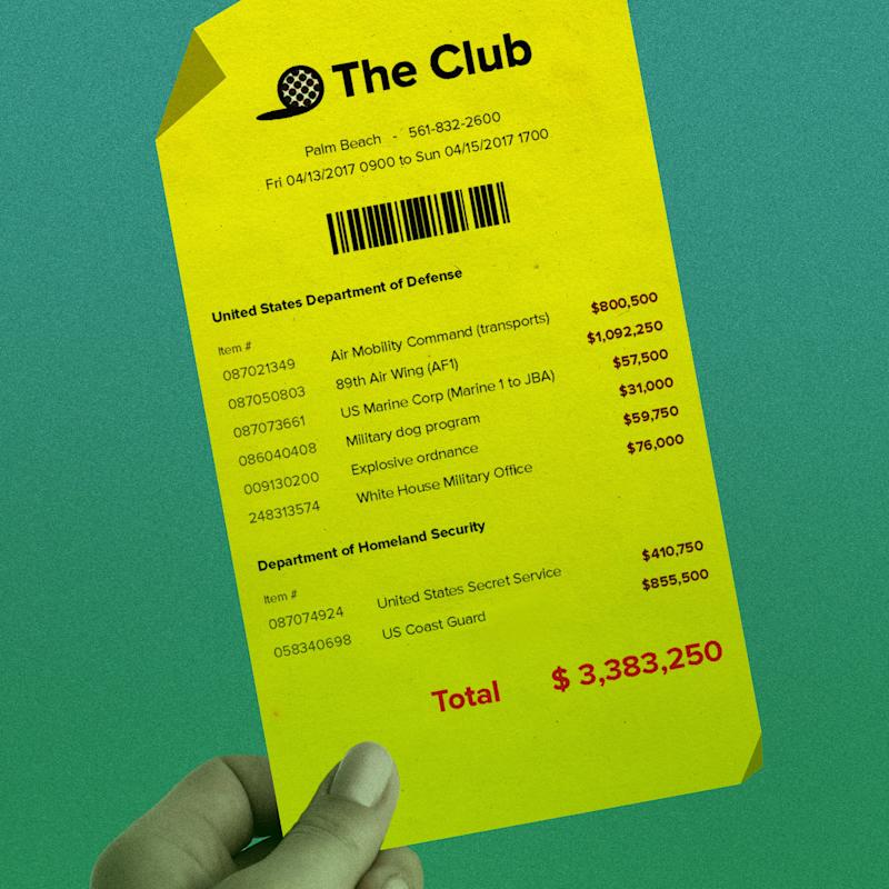 Cost to U.S. taxpayers for a typical Mar-a-Lago golf vacation. (Photo: Ivylise Simones/HuffPost)