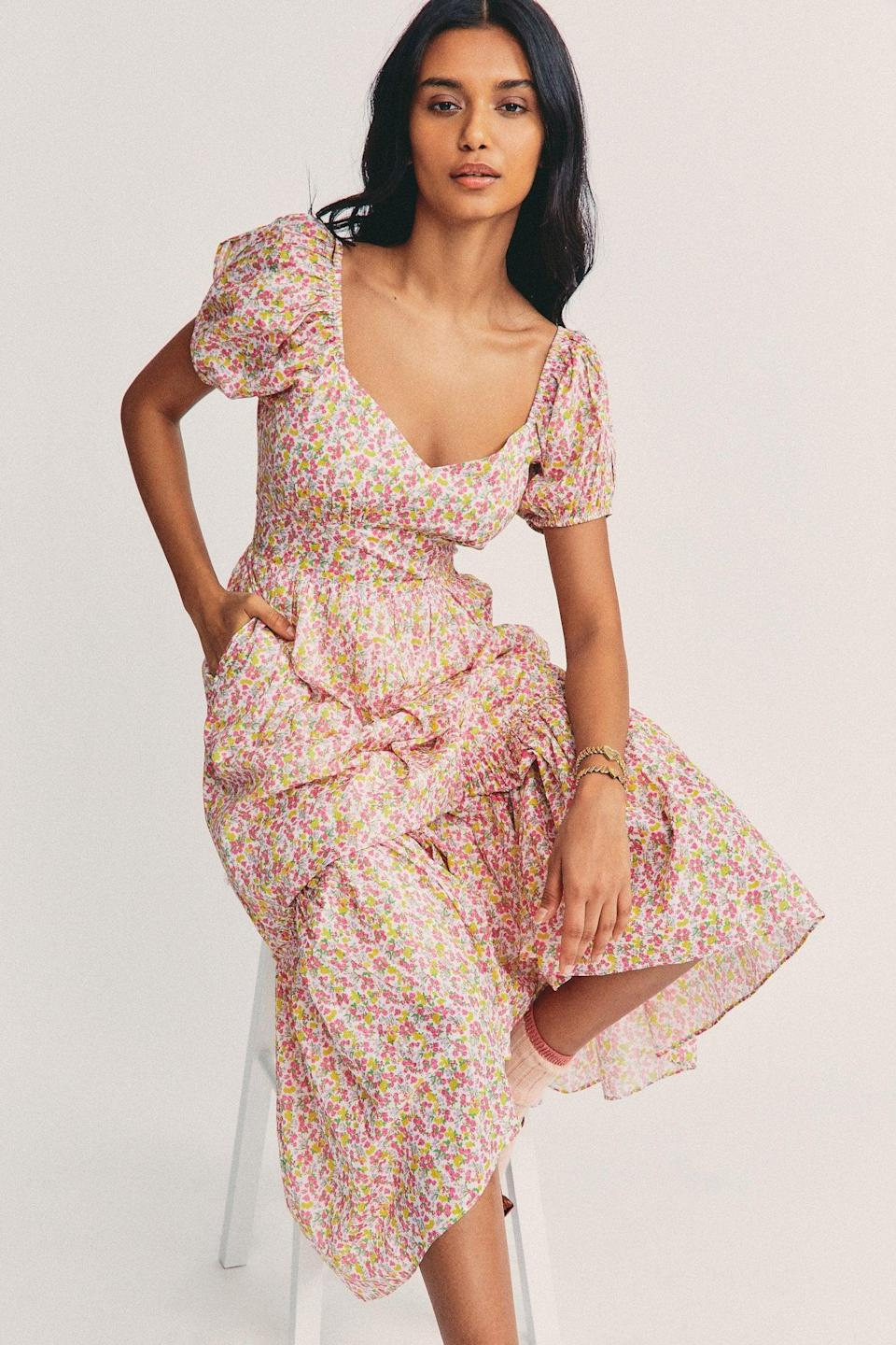 <p>We're feeling the <strong>Bridgerton</strong> vibes of this <span>LoveShackFancy Angie Maxi Dress</span> ($395).</p>