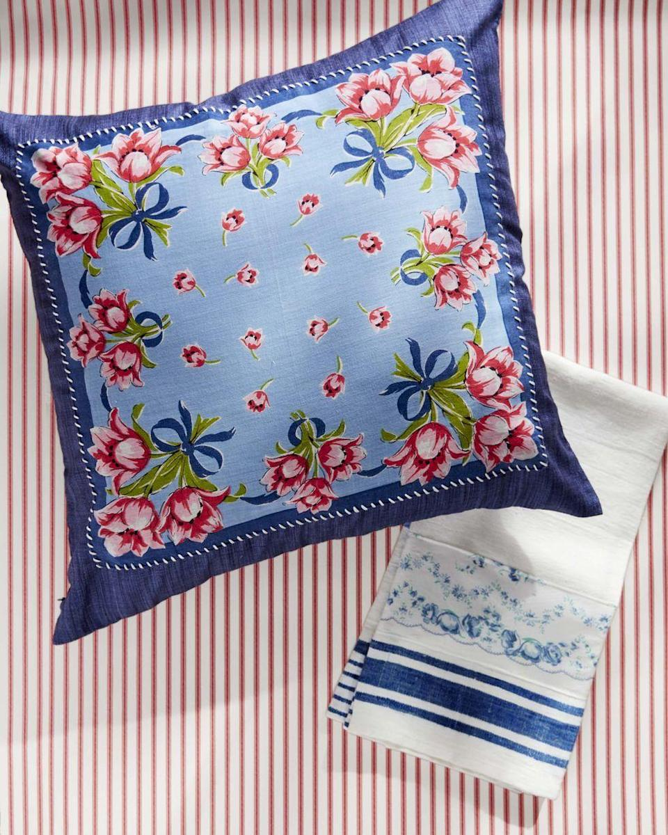 <p>Take a simple tea towel and a solid pillow and stitch a pretty floral or striped fabric (handkerchiefs work great!) to them to make them feel special and unique. </p>