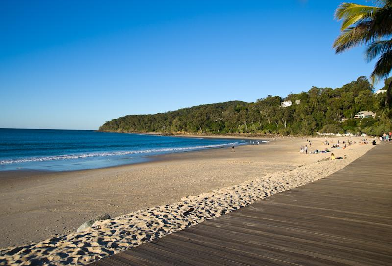 Pictured is a sunny winter day with little surf on Noosa main beach.