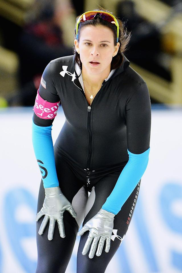 BERLIN, GERMANY - DECEMBER 08: Brittany Bowe of the United States looks on after the Ladies 1000m Division A competition during Day 3 of the Essent ISU World Cup on December 8, 2013 in Berlin, Germany. (Photo by Dennis Grombkowski/Bongarts/Getty Images)