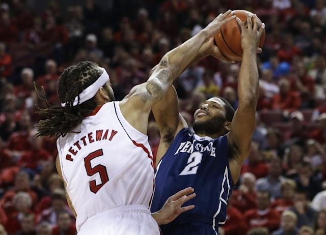 Penn State's D.J. Newbill (2) shoots over Nebraska's Terran Petteway (5) in the first half of an NCAA college basketball game in Lincoln, Neb., Thursday, Feb. 20, 2014. (AP Photo/Nati Harnik)