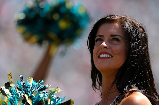 JACKSONVILLE, FL - SEPTEMBER 08: A Jacksonville Jaguars cheerleader looks on during a game against the Kansas City Chiefs at EverBank Field on September 8, 2013 in Jacksonville, Florida. (Photo by Mike Ehrmann/Getty Images)