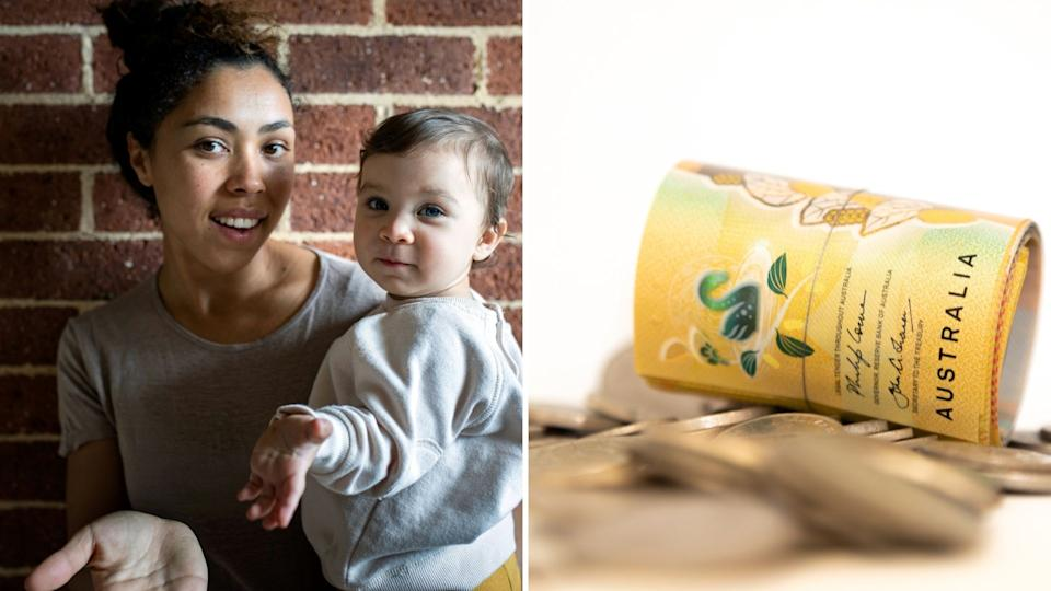 Young mother with toddler smiles at camera. Rolled up Australian $50 note and coins.