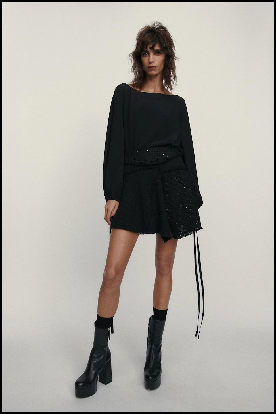 <p>Everyone needs a great black mini skirt. This <span>Zara Textured Skirt Limited Edition</span> ($70) is a winner in our books.</p>