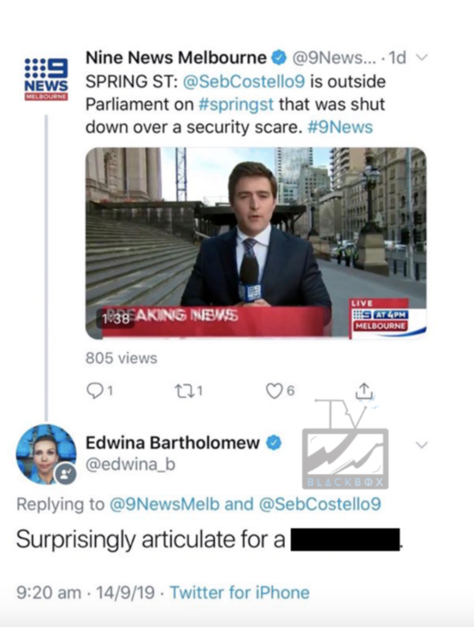 Screenshot of the exchange as posted by TV Blackbox. Photo: Twitter/ 9News