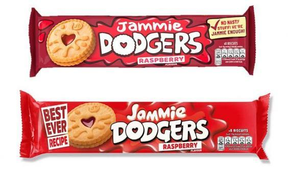 """Jammie Dodgers now come in new, darker packaging with the slogan """"No Nasty Stuff! We're Jammie Enough!"""" (Burton's Biscuit Company)"""