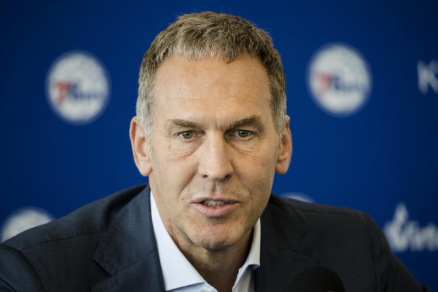 The 76ers are investigating whether Bryan Colangelo used Twitter accounts to criticize the team's players. (AP)